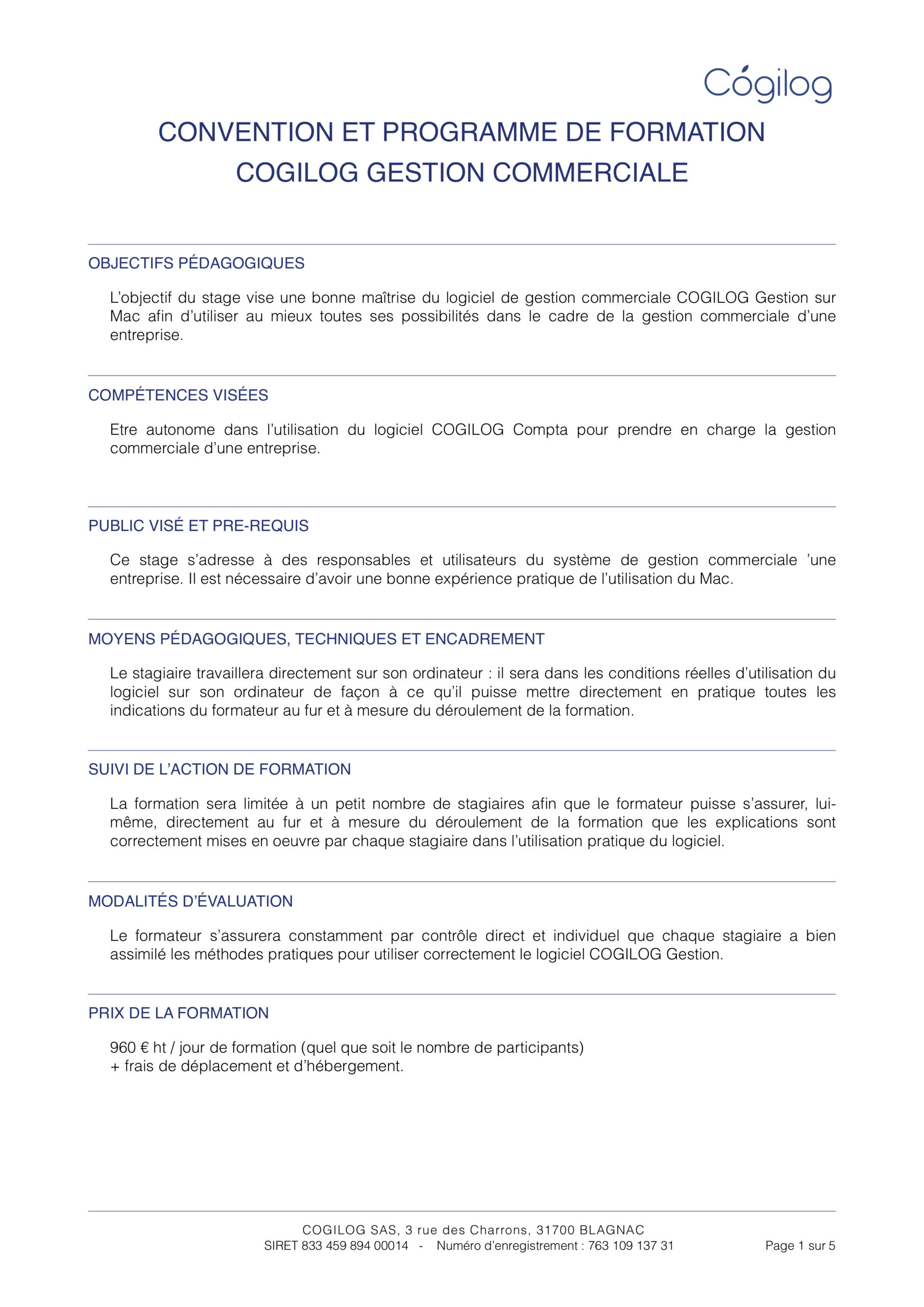 Programme de formation COGILOG Gestion