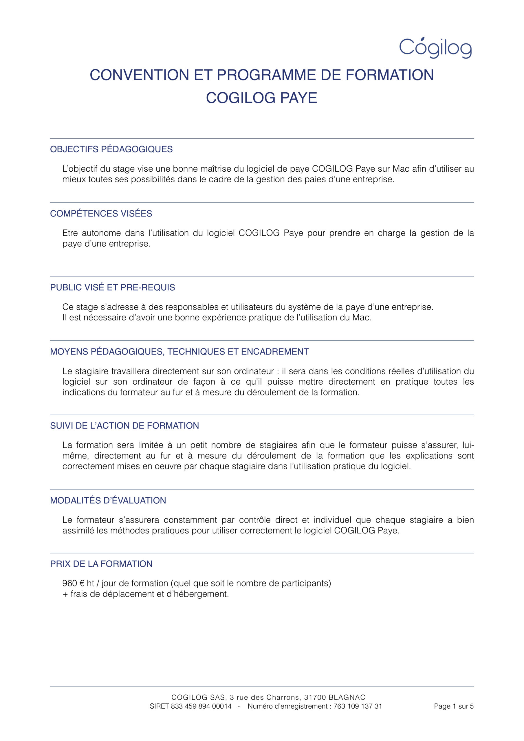 Programme de formation COGILOG Paye