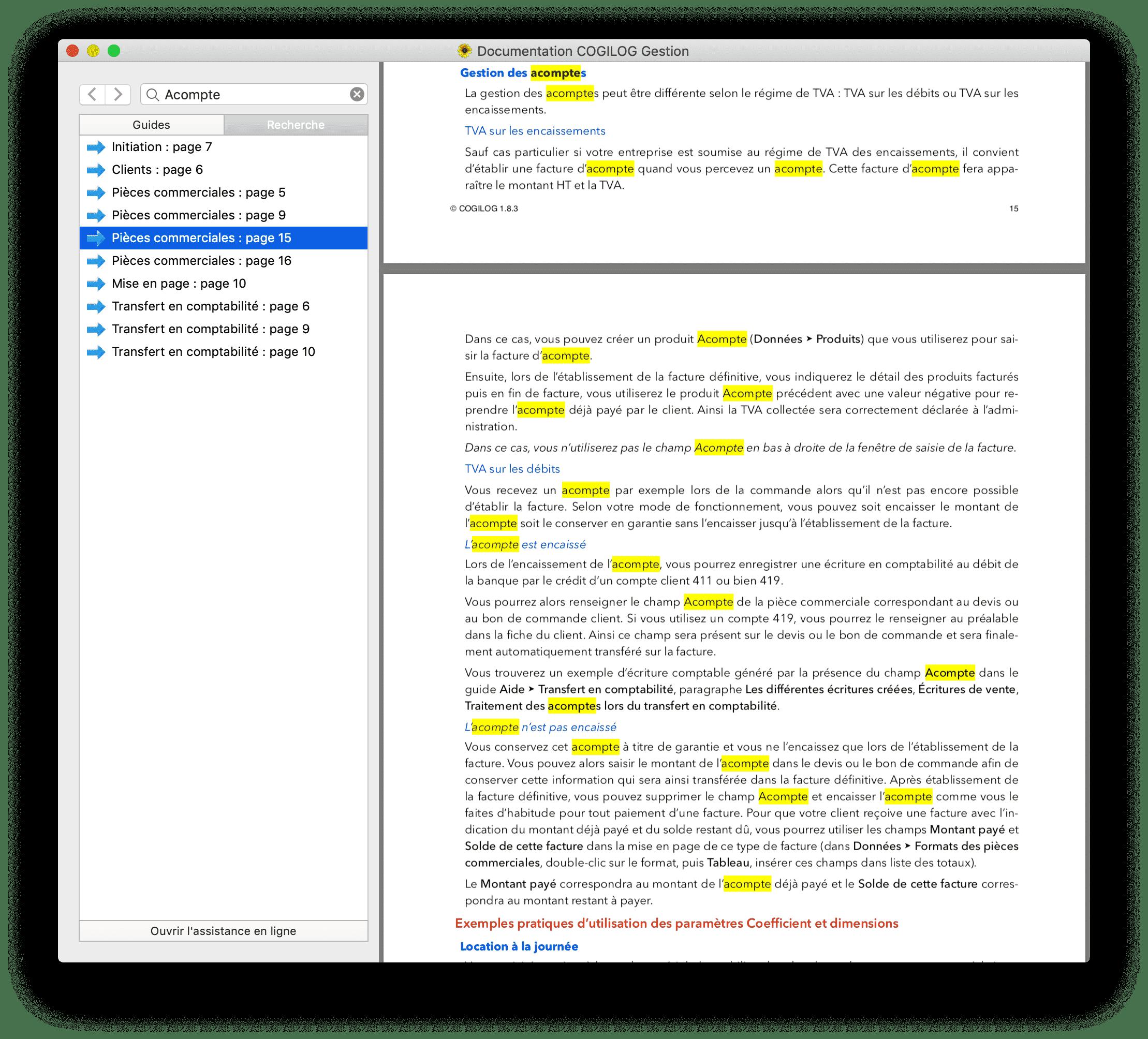 Documentation Cogilog fonction recherche