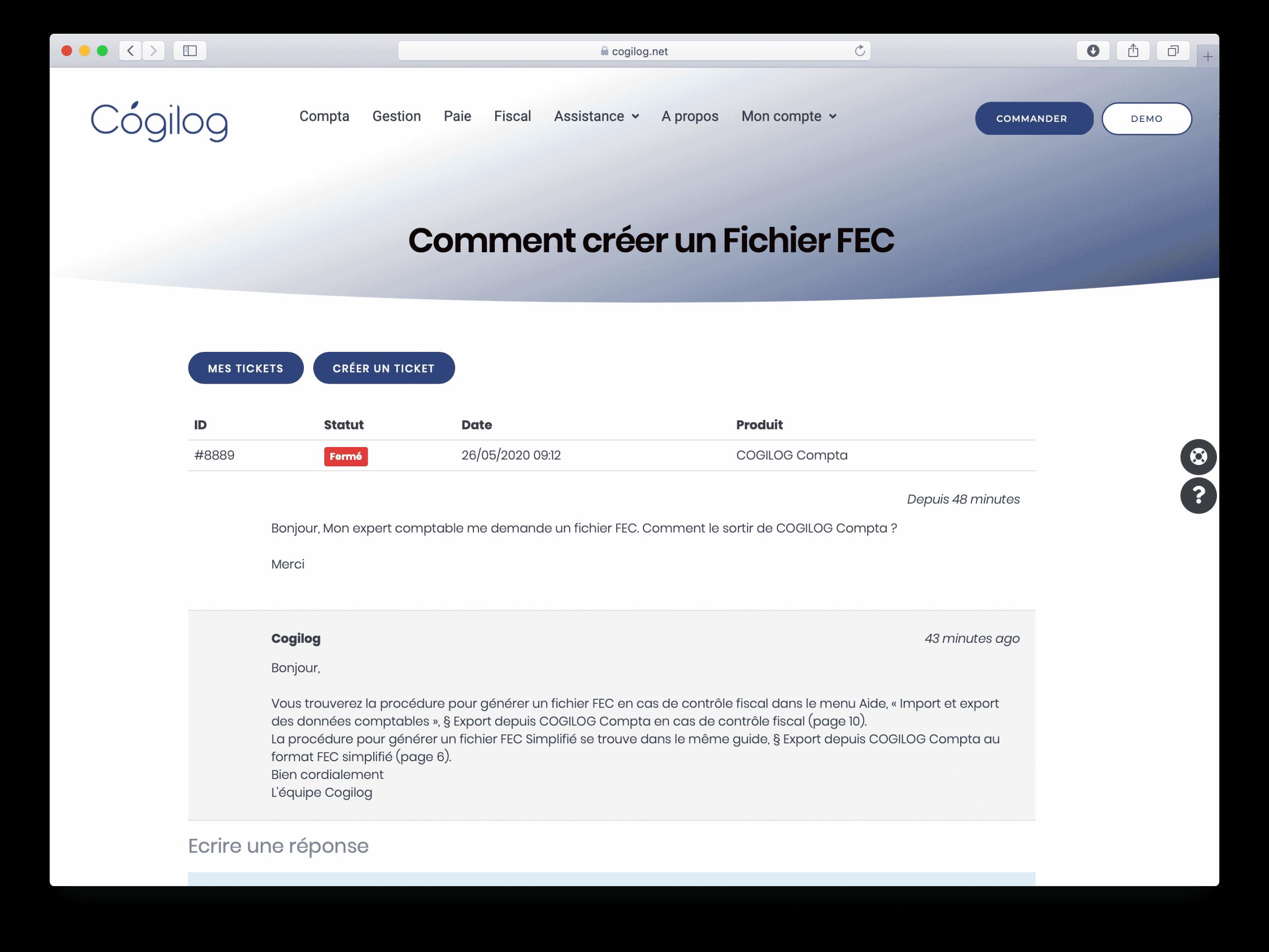 Support Ticket - 6 - Consultation de l'historique des tickets