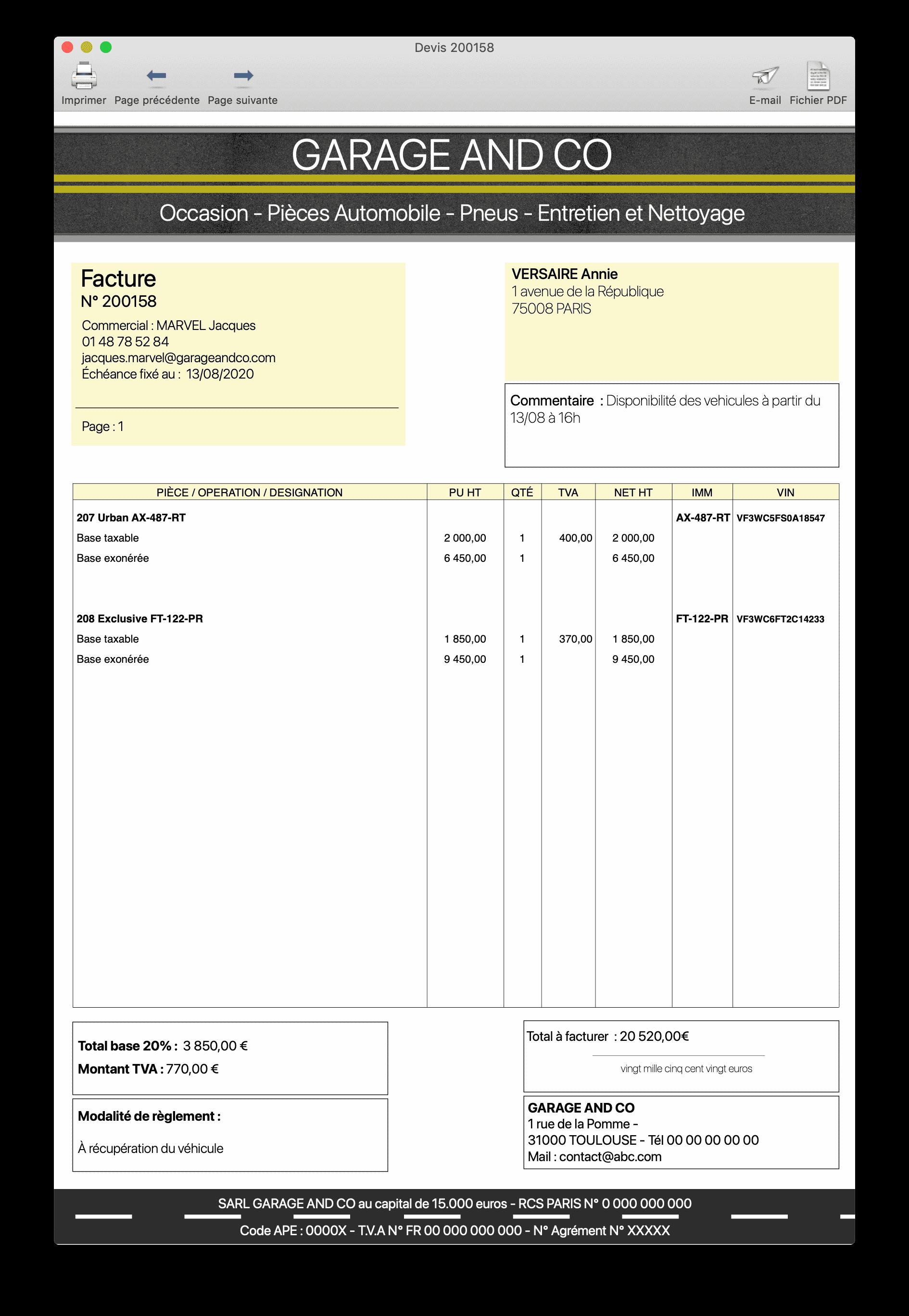Garage - facture de vente avec TVA sur marge
