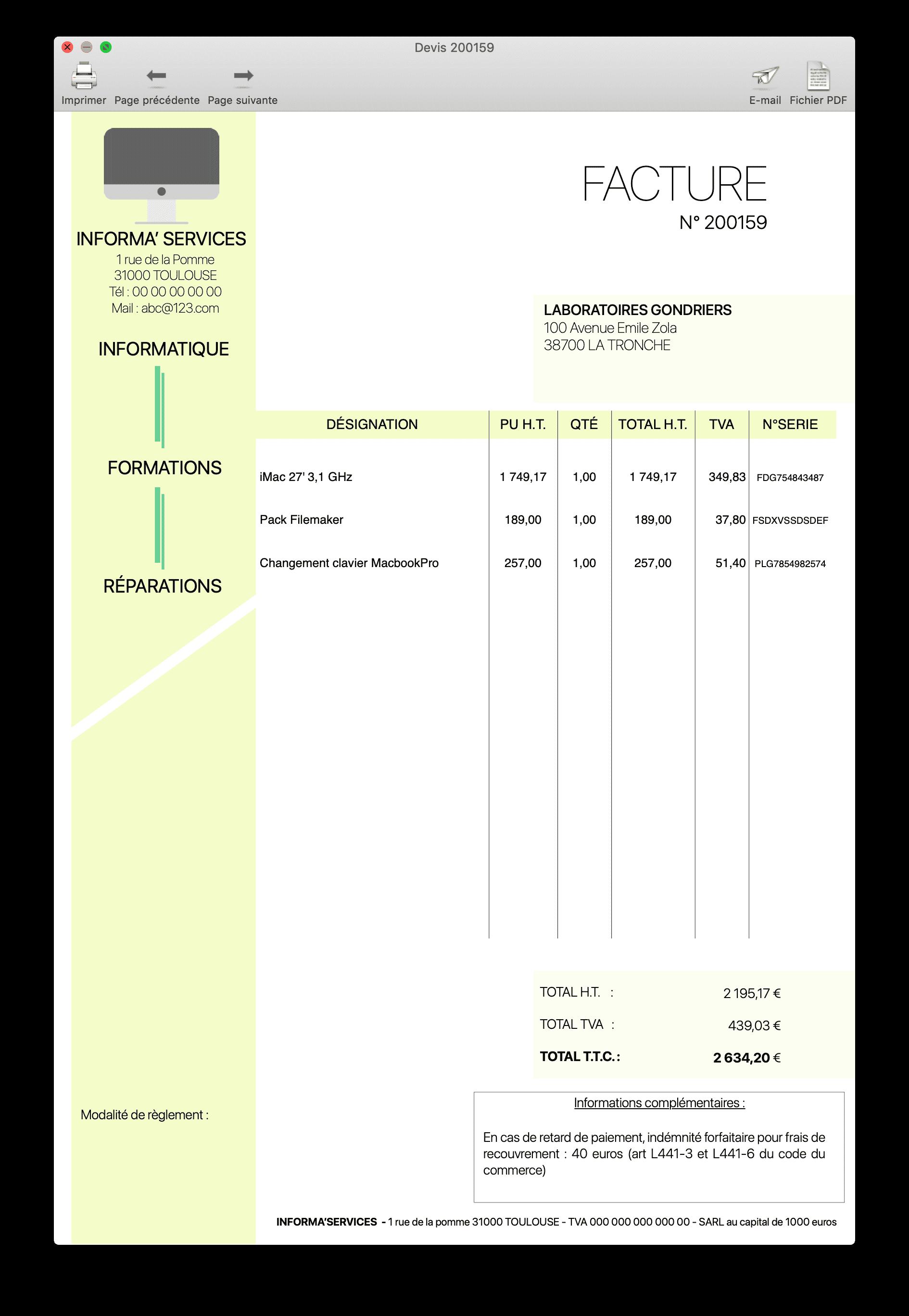 SAV - modèle de facture 1