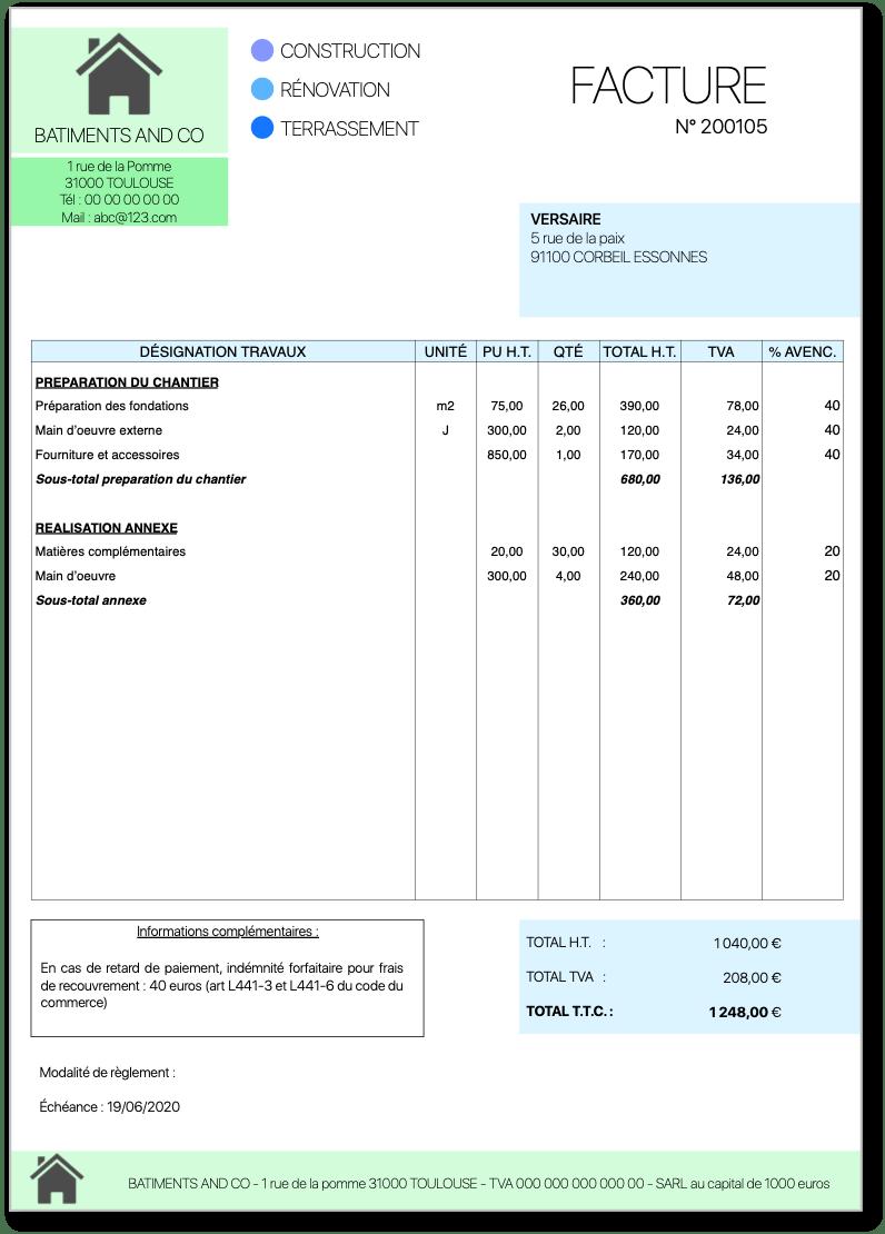 BTP - facture d'avancement