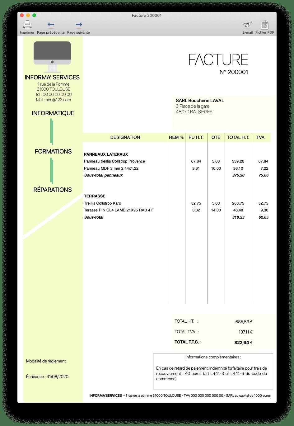 Distribution - Exemple de facture 2